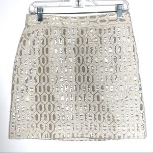 Banana Republic A-Line Silver and Beige Skirt